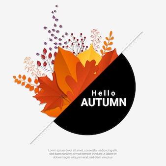 Ciao autunno con foglie colorate moderne