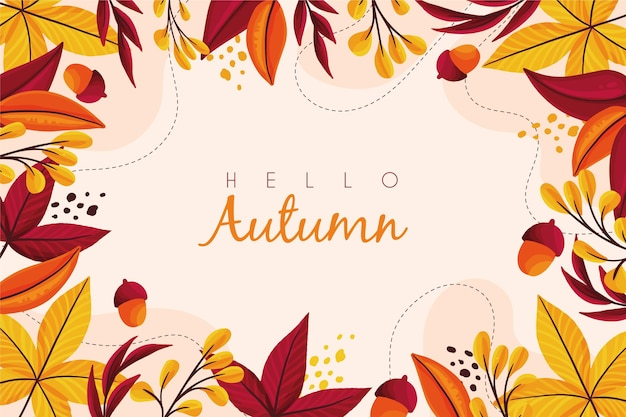 Ciao autunno con fondo disegnato a mano delle foglie