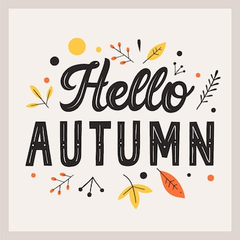 Ciao autunno lettering concetto