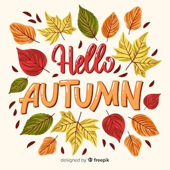 Ciao autunno lettering sfondo con foglie