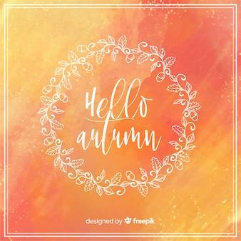 Ciao autunno lettering sfondo