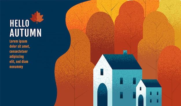 Ciao autunno, modello struttura banner, ringraziamento.