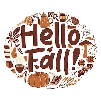 Ciao autunno, poster con scritte e oggetto stagione autunnale a forma rotonda