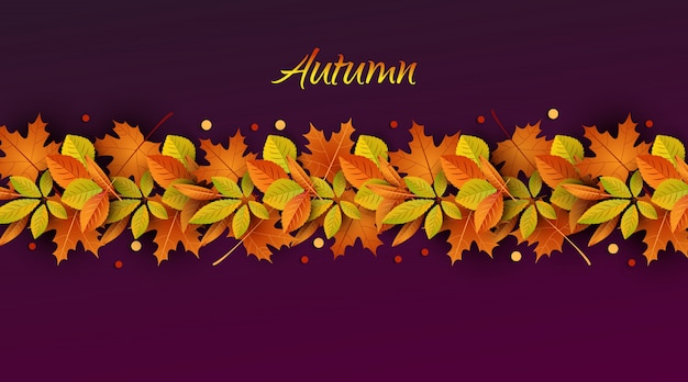 Ciao autunno. pubblicità autunnale di concetto. illustrazione sullo sfondo di foglie d'autunno.