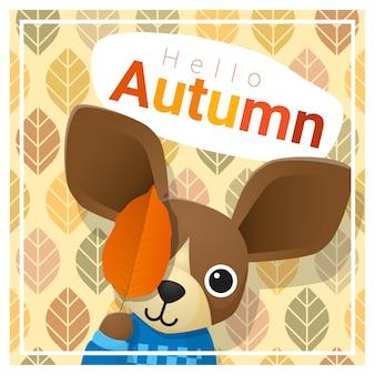 Ciao autunno sfondo con cane felice