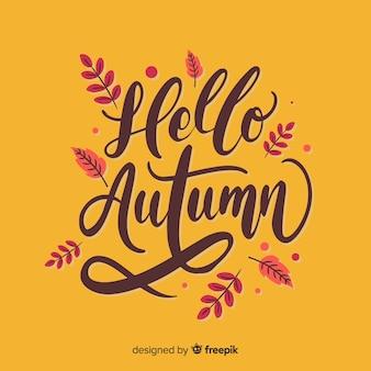 Ciao autunno sfondo stile calligrafico