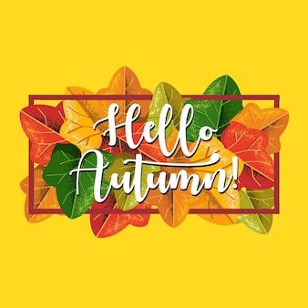 Ciao banner quadrato autunnale con foglie colorate