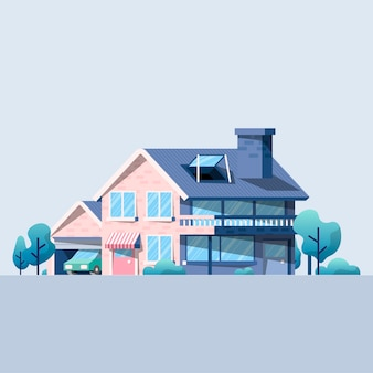 Ciao casa di tecnologia nell'illustrazione della natura
