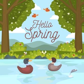 Ciao concetto di primavera con le anatre