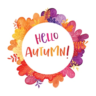 Ciao cornice autunno dell'acquerello