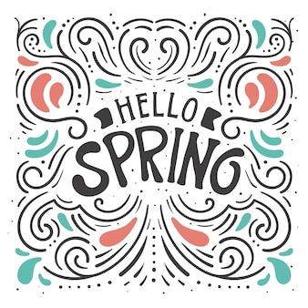 Ciao decorativo primavera lettering sullo sfondo