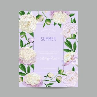 Ciao disegno floreale estivo con fiori di peonie
