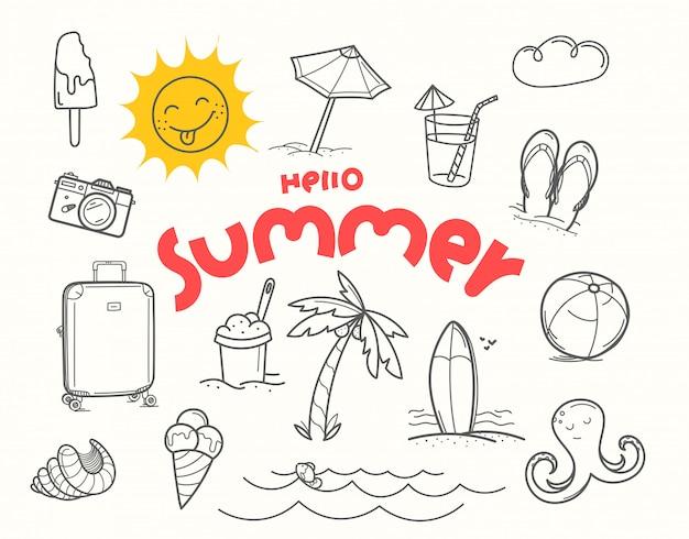 Ciao elementi doodle estate con iscrizione scritta
