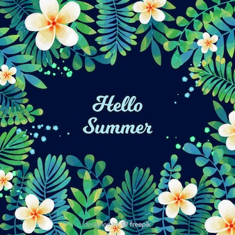 Ciao estate acquerello sfondo