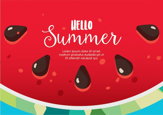 Ciao estate anguria sfondo vettoriale