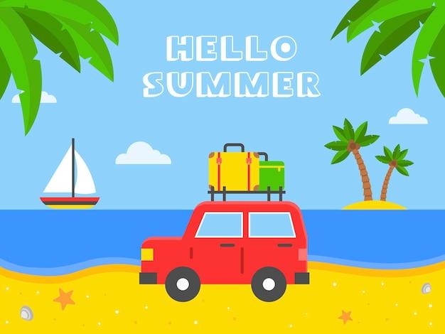 Ciao estate, automobile con bagagli sull'illustrazione della spiaggia