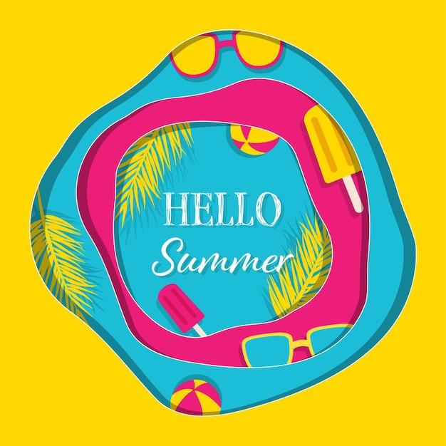 Ciao estate banner arte design di carta con elementi estivi e testo alla moda sul retro colorato