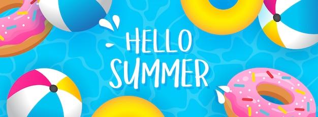Ciao estate banner illustrazione vettoriale