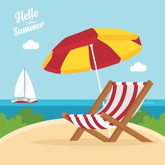 Ciao estate. barca a vela e spiaggia con sabbia, palme, sdraio
