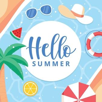 Ciao estate con elementi essenziali per la piscina