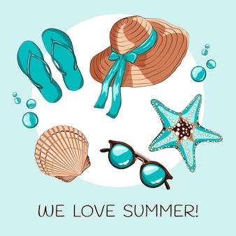 Ciao estate con elementi essenziali per la spiaggia
