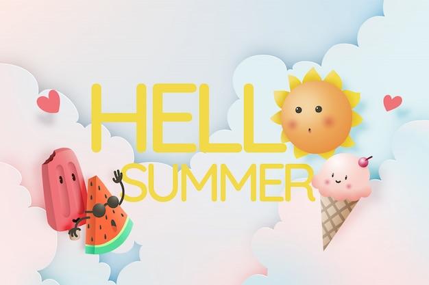 Ciao estate con frutta tropicale e gelato
