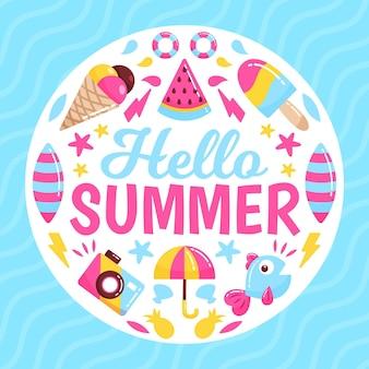 Ciao estate con gelato ed elementi essenziali per la spiaggia