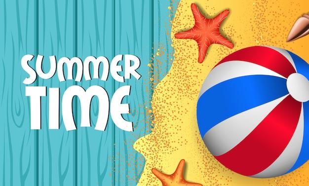 Ciao estate con legno blu