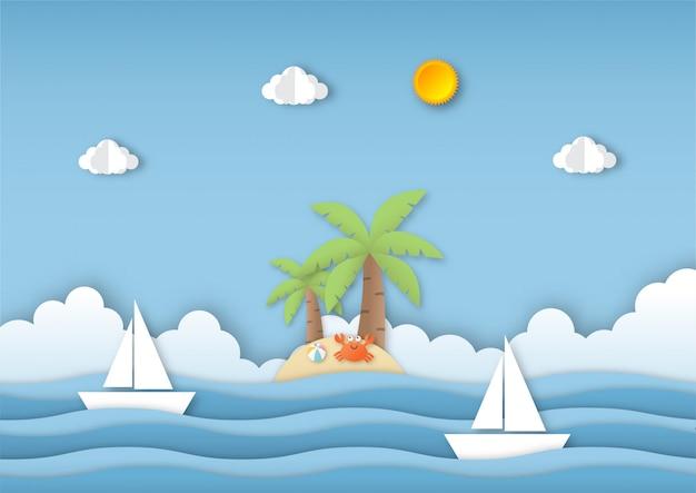 Ciao estate con sfondo paesaggio di spiaggia. stile di arte di carta.