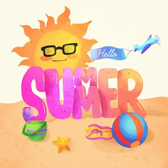 Ciao estate concetto di acquerello