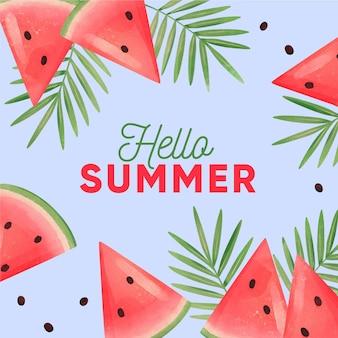 Ciao estate dell'acquerello con anguria e foglie