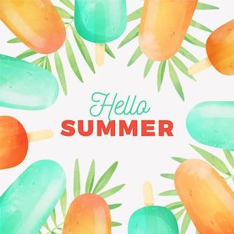 Ciao estate dell'acquerello con foglie e ghiaccioli