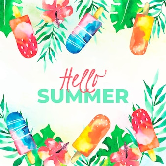 Ciao estate dell'acquerello con gelato e fiori