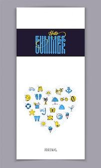 Ciao estate e set di icone colorate estate