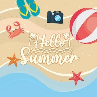 Ciao estate. flip-flop con fotocamera e pallone da spiaggia con granchio e stelle marine