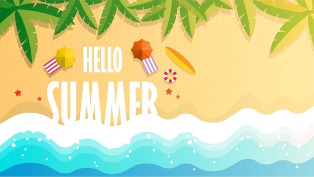Ciao estate illustrazione della spiaggia tropicale