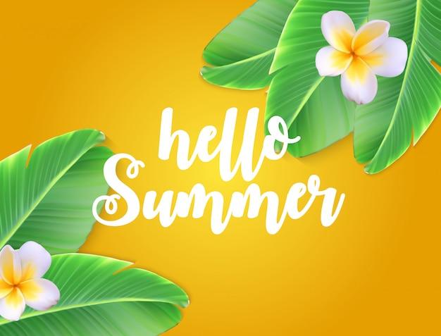 Ciao estate naturale sfondo floreale con cornice