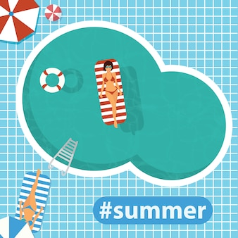 Ciao estate. piscina. illustrazione vettoriale piatto