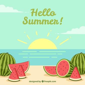 Ciao estate sfondo con cocomeri deliziosi e freschi