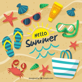 Ciao estate sfondo con elementi di spiaggia