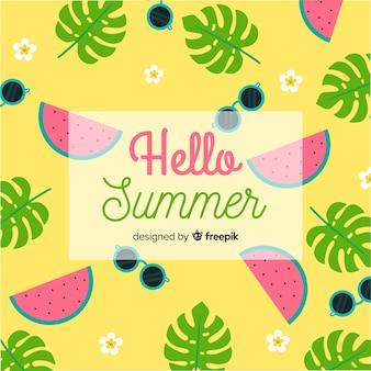 Ciao estate sfondo piatto