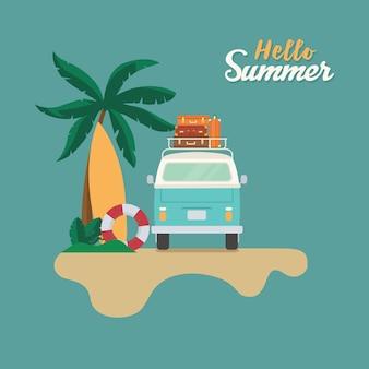 Ciao estate, spiaggia piatta con camper con pila di valigia, sabbia, tavola da surf e palma