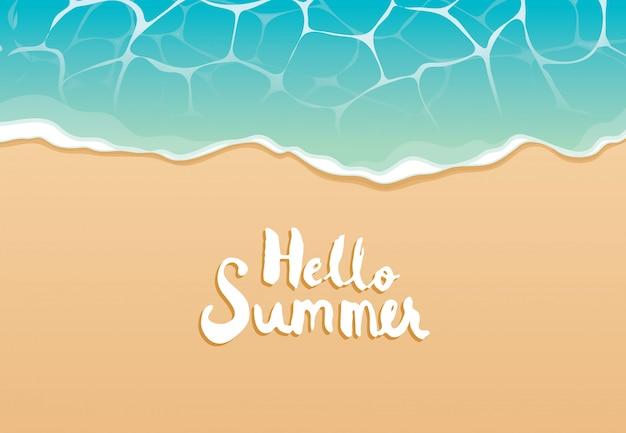 Ciao estate spiaggia vista dall'alto viaggi e vacanze sfondo