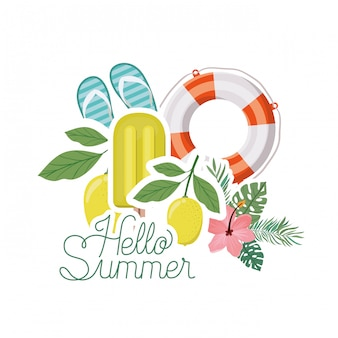 Ciao etichetta estiva con oggetti estivi