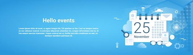 Ciao eventi banner orizzontale di web del modello di gestione di tempo
