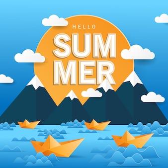 Ciao fondo di estate con stile di arte di carta