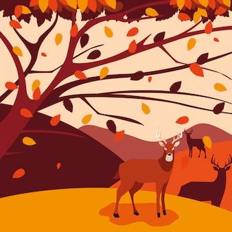 Ciao illustrazione di autunno con i cervi del gruppo nel paesaggio