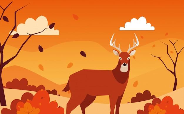 Ciao illustrazione di autunno con l'animale dei cervi nel paesaggio