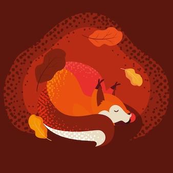 Ciao illustrazione di autunno con l'animale della volpe