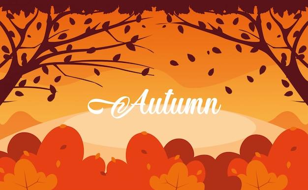 Ciao illustrazione di autunno con paesaggio e foglie